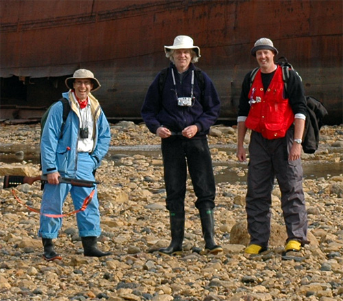 "A typically scruffy paleontology field crew visits the Ithica.  L-R are Pete Fenton, me, and Norm Aime (perhaps you can understand why the people at the Churchill Northern Studies Centre called us ""the guys with the funny hats"")."