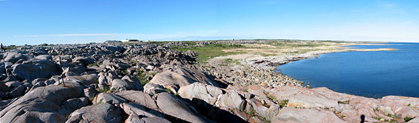 In places, such as along the cove beside the airport, the quartzite seems to go on forever.