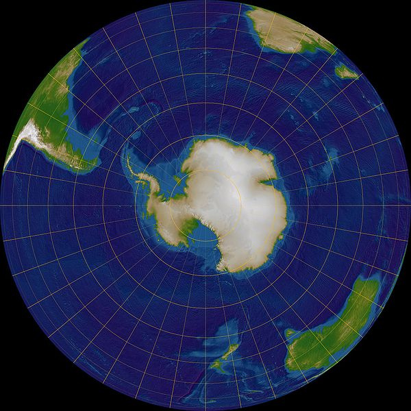 The Great Southern Ocean, as seen in a sotuh polar view