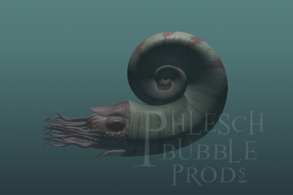 This coiled cephalopod (related to the modern pearly nautilus) is based on the fossil genus Charactoceras.