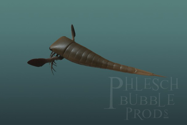 "This eurypterid (""sea scorpion"") is based on fossils we found in central Manitoba."