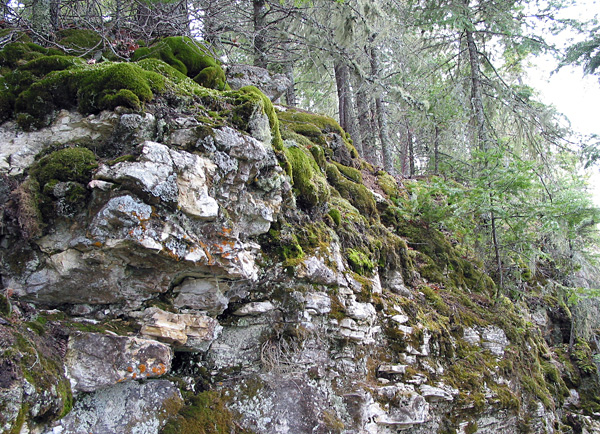A cliff face beside Clearwater Lake