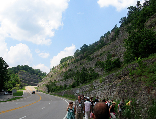 One of the many large Upper Ordovician roadcuts in northern Kentucky