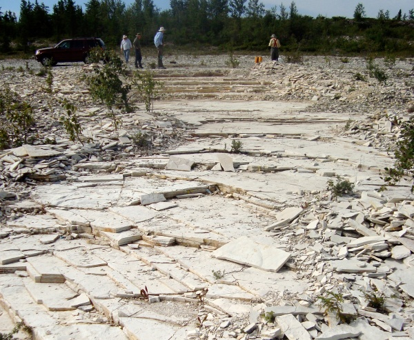 "Over the past few years we have extracted a lot of dolostone, giving the ""quarry"" this stepped appearance (photo Norman Aime)"