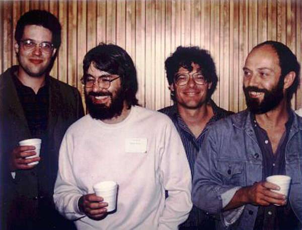 Rolf Ludvigsen with students current and past at the 1986 Albany Canadian Paleontology and Biostratigraphy Seminar. L-R: me, Steve Westrop, Brian Pratt, and Rolf. Our cups undoubtedly hold coffee.