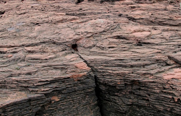 Thinly laminated sandstone bedrock