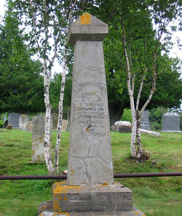 The dead from the wreck of the Lord Ashburton were buried in the cemetery at North Head, Grand Manan Island.