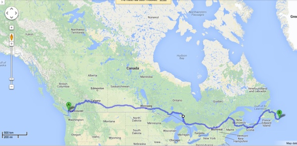 The trans Canada timeline (with thanks to Google Maps)