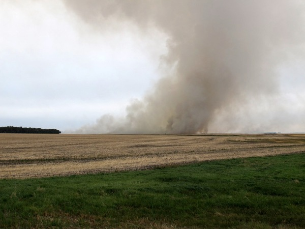 Stubble burning near Morden, Manitoba