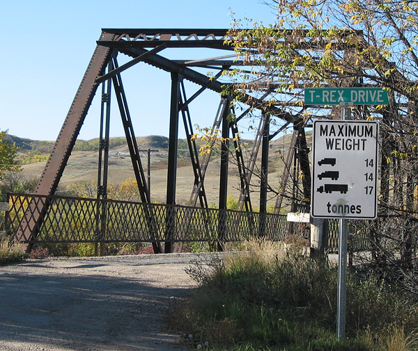T. rex apparently weighed about 5-7 tonnes, so it could have safely crossed the bridge on T. rex Drive in Eastend, Saskatchewan.