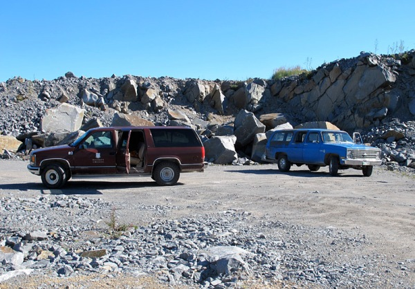 Number 82 and the 1976 Custom Deluxe, visiting a quarry in the Churchill quartzite.