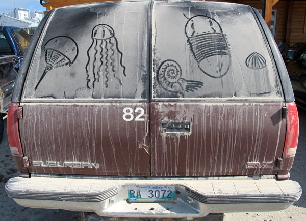 Number 82, appropriately decorated as a paleontology field vehicle