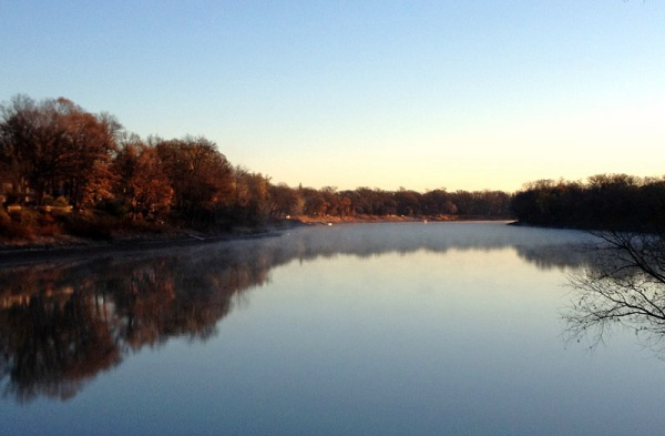 The calm Red River on a Winnipeg autumn morning, just a few minutes from home.