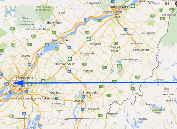 In case you are wondering, the blue arrow shows the approximate route of the plane over southern Québec. (based on Google map)