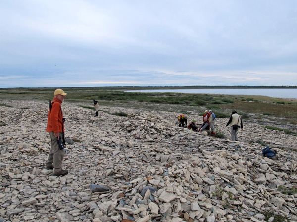 Dave Rudkin of the Royal Ontario Museum acts as polar bear guard for a group of geologists at Bird Cove, Churchill, Manitoba: August, 2015.